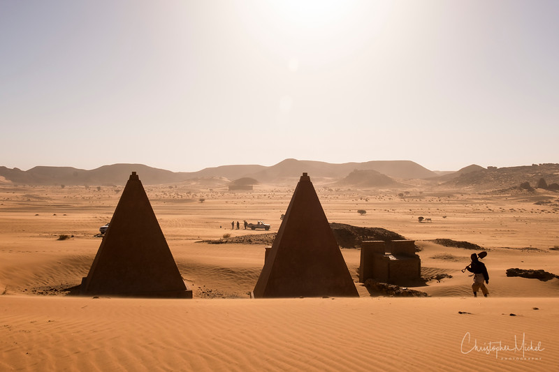Workers are constantly digging out the sand from around the pyramids.