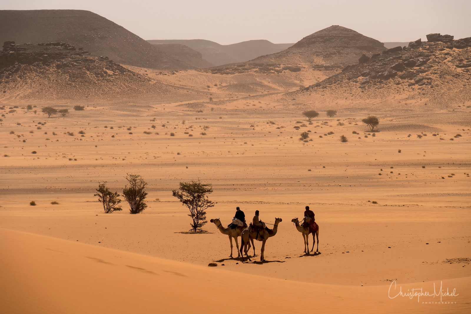 The endless Sudanese desert.  The pyramid field of Meroë lies nearby.