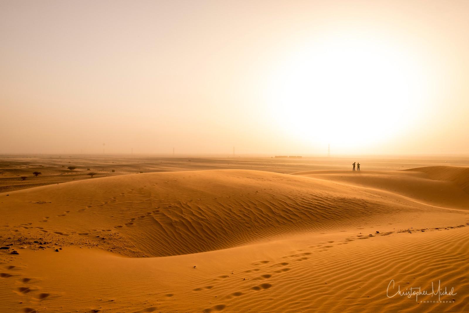 Often, red sandstorms blend sky and land.