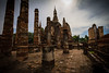 Remains of a buddhist temple and chedi at Sukhothai