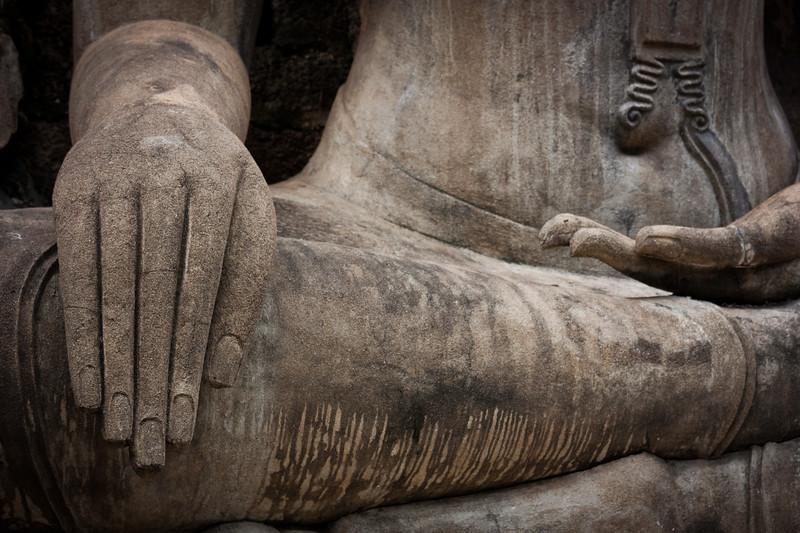 Detail of a Buddha statue at Sukhothai