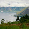 First view of Lake Toba, a huge crater lake in Northern Sumatra.