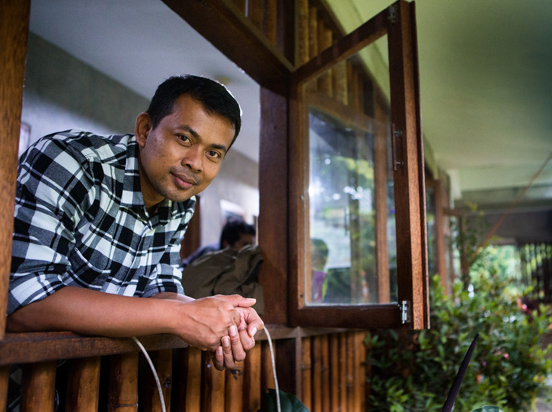 Panut Hadisiswoyo at the Orangutan Information Centre Headquarters on the outskirts of Medan
