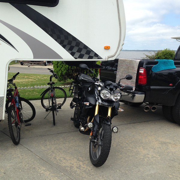 Here's our little ecosystem of bikes (and mats drying on the truck). This campground is called Outdoor Resorts VA Beach, which means they pick up your trash for you but don't recycle. The campground featured impossibly tight turnarounds and a very quiet atmosphere. It's located right next to the Back Bay Nat'l Wildlife Refuge.