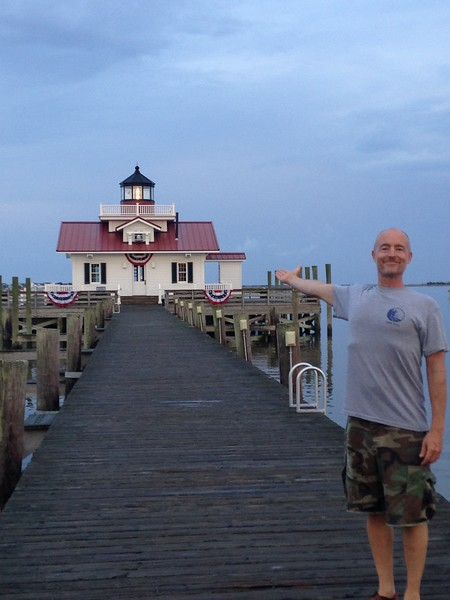 The town of Manteo had been submerged in one flood or another in the recent past, and afterward they built a very nice little lighthouse at the end of a new pier. They were getting it ready for the Fourth of July.