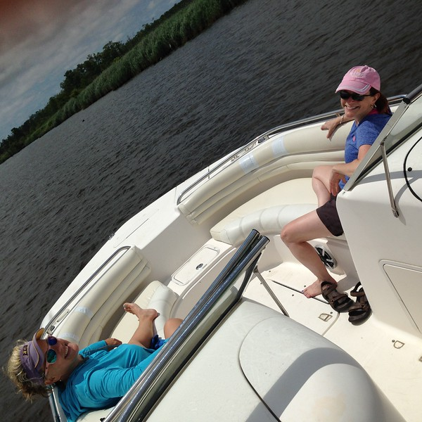 We spent 6/26 scooting around by boat across a very shallow bay. How shallow was it? It was so shallow we had to get out and push for a while, which apparently isn't uncommon. (Once I get fired, I'll start an endurance event of hauling boats across the bay. It's not easy.)<br /> <br /> We moored for lunch in Coinjock, North Carolina, where we met Jimmy and Phil, two friends of Claire's and Robbie's. Jimmy built a tiny house, which we had to go see.