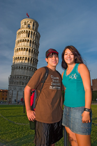 We took a one-hour train ride from Florence to Pisa, and arrived around sunset.