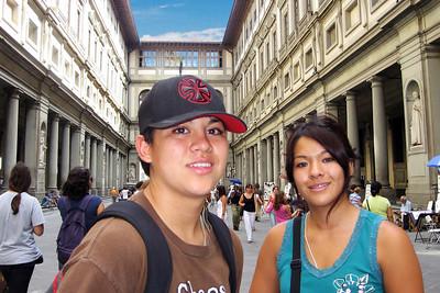 In the atrium of the Uffizi.