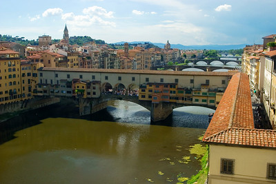 The Ponte Vecchio in Florence, taken from the Uffizi.