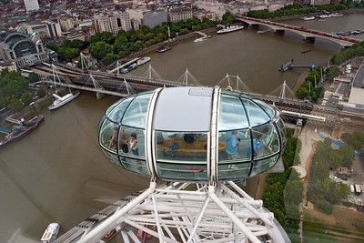 Looking down on the River Thames from the London Eye.