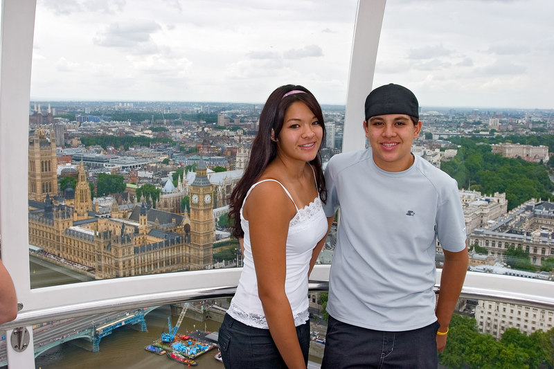 From the London Eye, with Big Ben in the background.