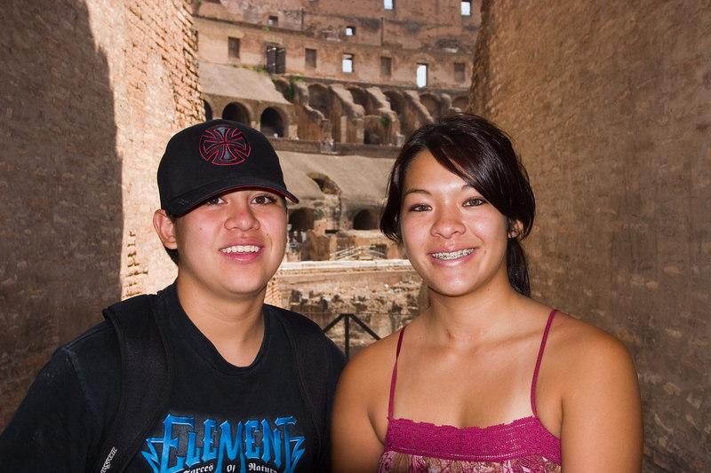 Gen & Cody inside the Colosseum.