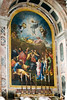 This altarpiece is a mosaic reproduction of Raphael's 'deathbed' painting, Altar of Transfiguration, now in the Vatican Museum.  A team of six artists took nine years to execute the mosaic, finishing in 1767.
