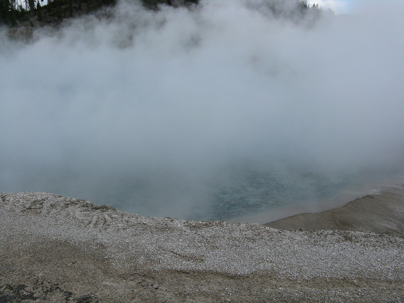 Too much steam to get a decent picture of the crater.
