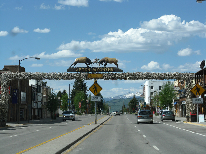 The world's largest elkhorn arch in Afton, WY.