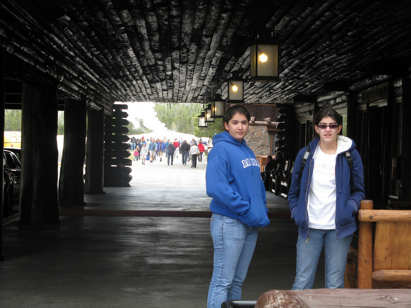 Marissa and Alicia at the entrance to the lodge.