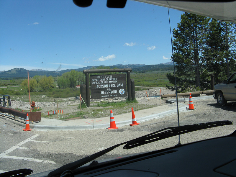 Crossing the Jackson Lake Dam. Lots of road work over the next several miles slowed our progress to Yellowstone.