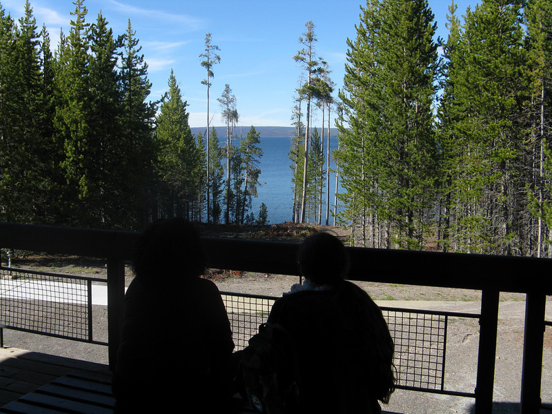 Outside of the visitor center over looking the lake.