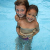Ingrid's niece Estee and her cousin in Ann and Marc's pool.