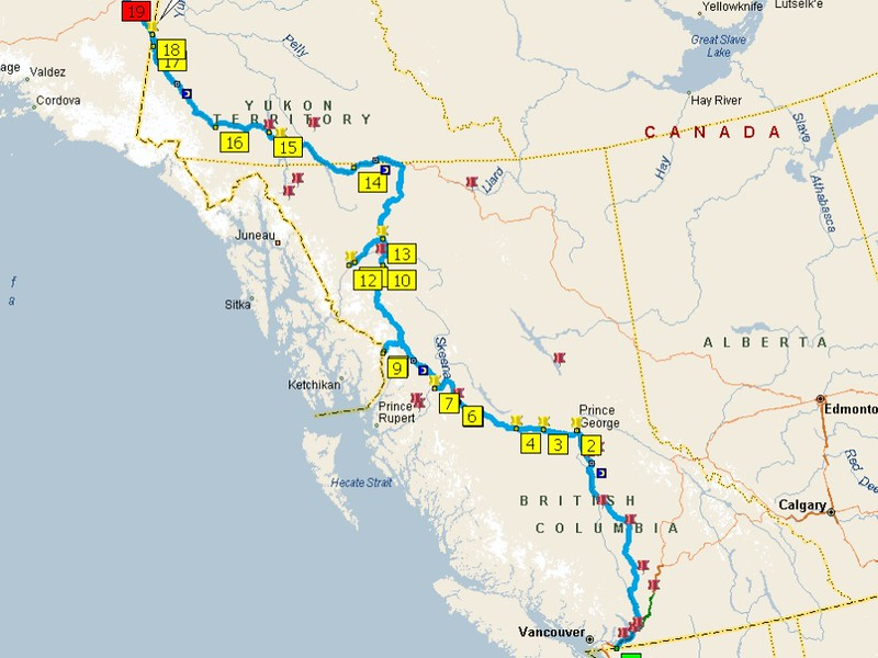 This would be pretty much our intended route through Canada.