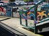 Community decorated decor around the shopping center boardwalk.