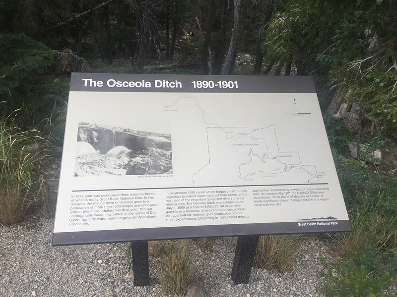 We parked the motorhome at an RV park in Baker, NV, then took the car up to Wheeler Peak. At one time, the miners at a nearby gold mine diverted the stream over to their mine with this Ditch.