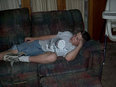 Cleveland,Okla <br /> Grandson Devon,just kicking back watching tv