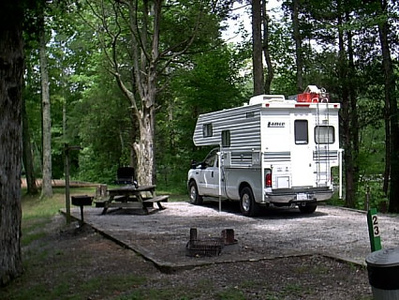 campground #1 <br /> The campsite is large and very level,there water and elect.The lake surround us on three sides