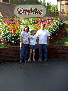 Dollywood <br /> Got there as the gate were openning. A kind person took our pic.