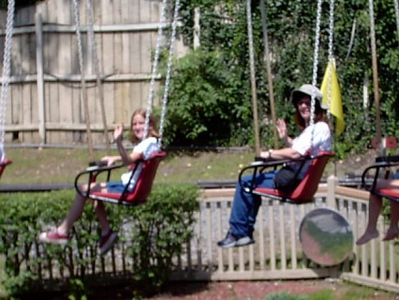 Swing chair <br /> This was fun,Julie and Ashely on the far side.