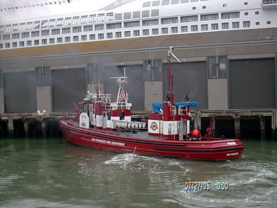 Fireboat docking at pier 35.