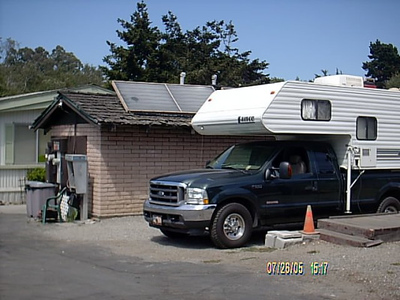 Santa Cruz<br /> finnaly at beach RV,it run by a 80 yr. old guy that like to talk alot. The park isn't fancy and it was only a stone's throw from the beach.