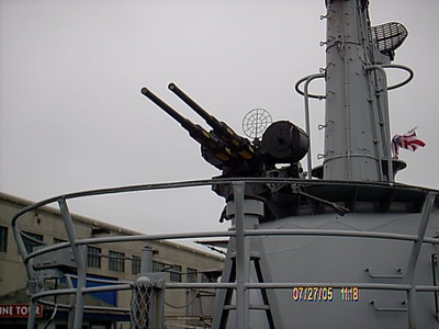 One of the set of machine guns on the sub.