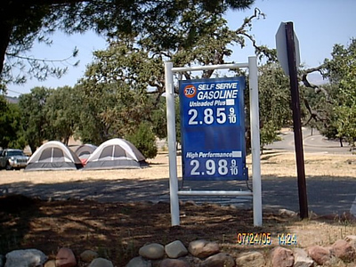 On site gas station at Lake Cachuma (prices that are long gone)