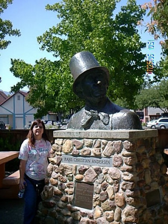 Solvang,Ca.<br /> My wife next to a statue in honnor of Hans C. Anderson.