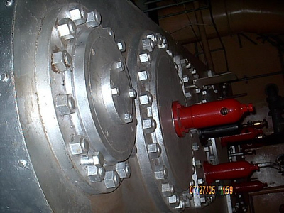 Engine Room <br /> This is the top of the steam engine,each piston is several feet across.