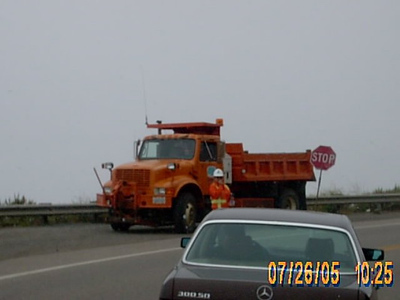 Caltrans making road repairs on Hwy 1 near MM 1-743.