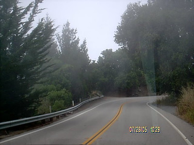 Coast road had some light fog in some areas.