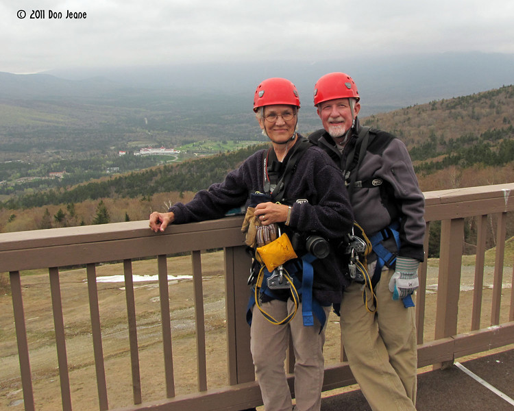 Bretton Woods Canopy Tour. At the top. Ready to go. May 14, 2011.