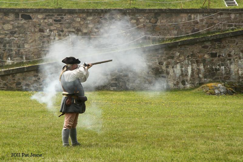 Musket firing demonstration, Fortress Louisbourg Natl Historic Site.
