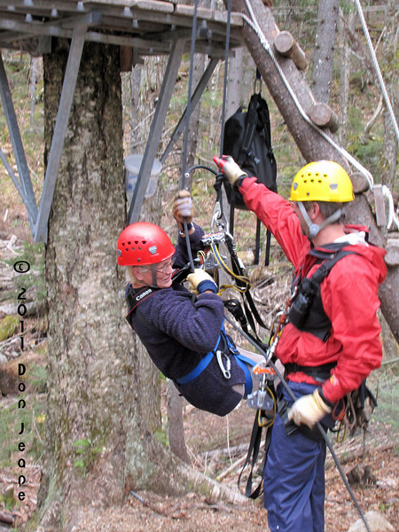 Bretton Woods Canopy Tour. First rappel - only about 10'.
