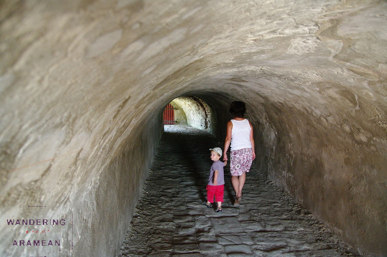 Walking through one of the tunnels under a berm