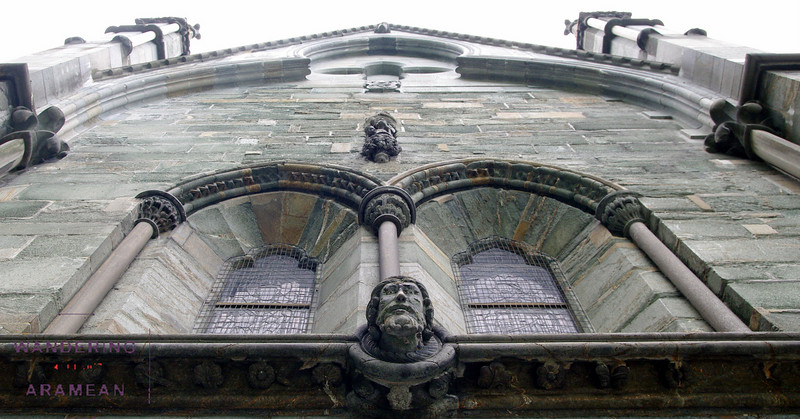Looking up at the facade of the cathedral
