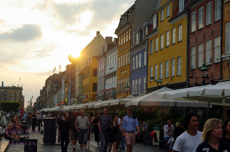 """Sunset"" over the Nyhavn; the sun never really went away, but it did drop below the buildings for a bit"