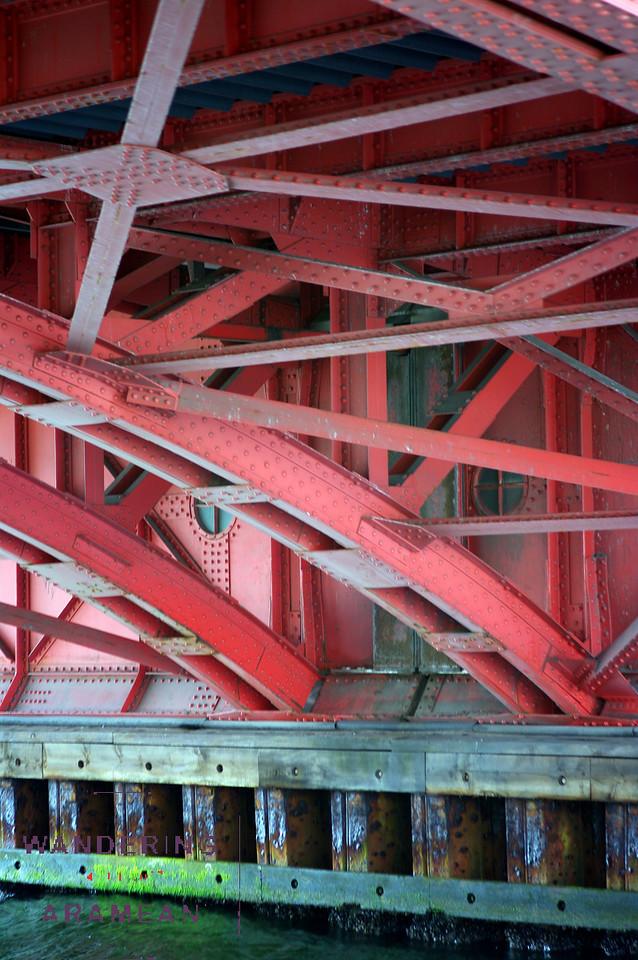 The underside of one of the many bridges in Copenhagen