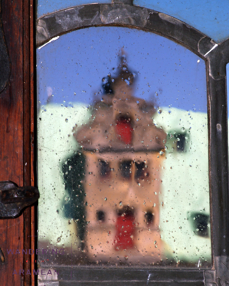 Looking through the old, leaded glass windows