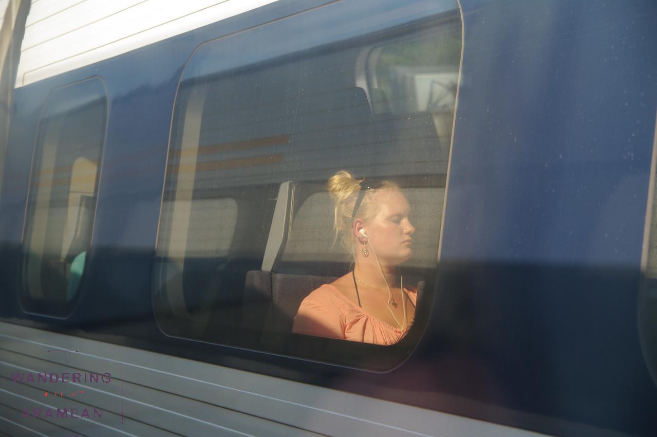 Riding the train back into Copenhagen