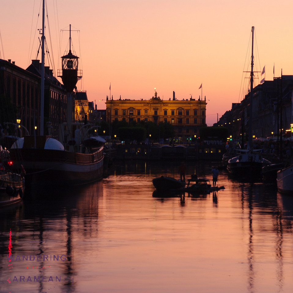 """""""Sunset"""" over Nyhavn; this is about as dark as it got"""