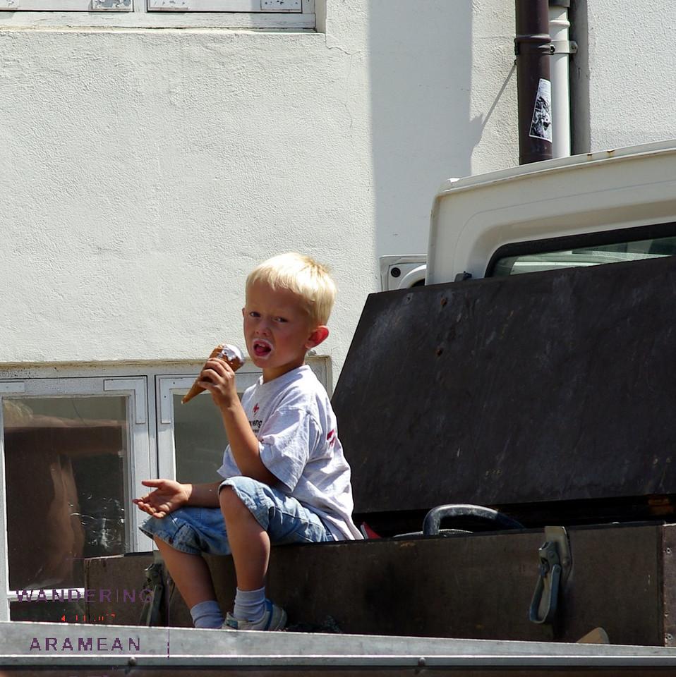 Enjoying an ice cream on a sunny afternoon
