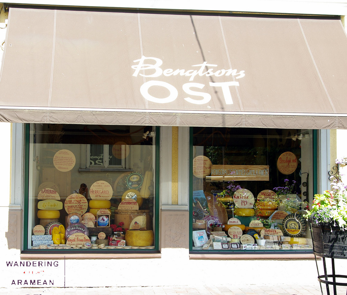 Cheese shopping on the streets of Helsingbor